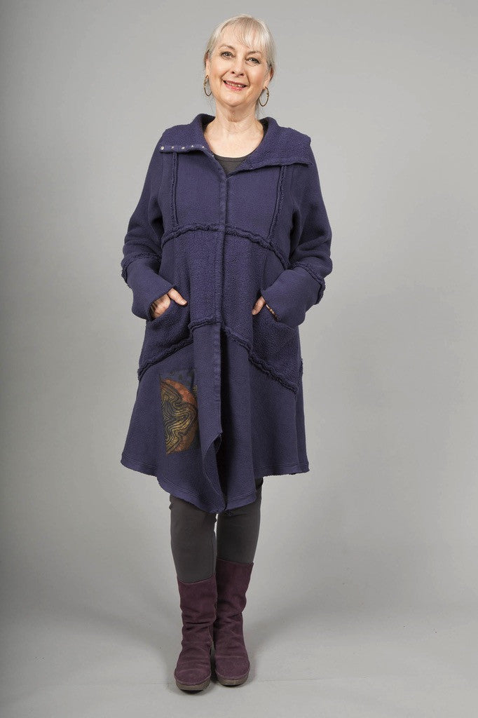 Fleece Sherpa Coat Patched Nightshade-Blue Fish Clothing