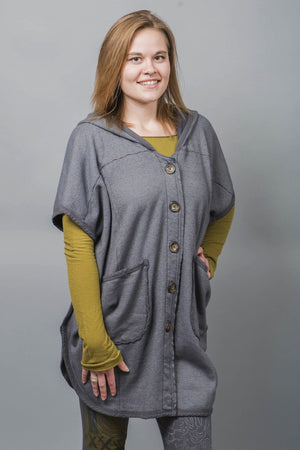 5258 Raw Edge Hooded Cape Light Charcoal-UnPatched