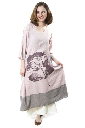 Linen Striped Dress Pink Bisque Printed