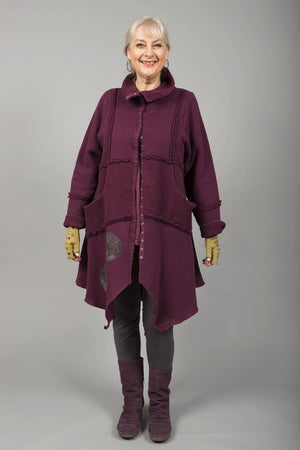 Fleece Sherpa Coat Patched Potent Purple-Blue Fish Clothing