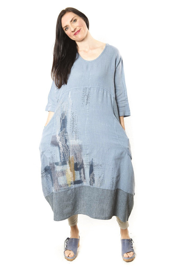Linen Striped Dress Aleutian Blue Printed