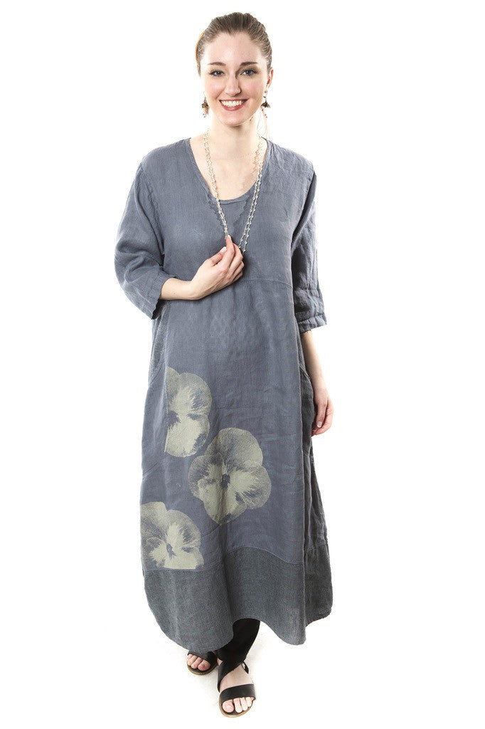 Linen Striped Dress Graycious Blue Printed