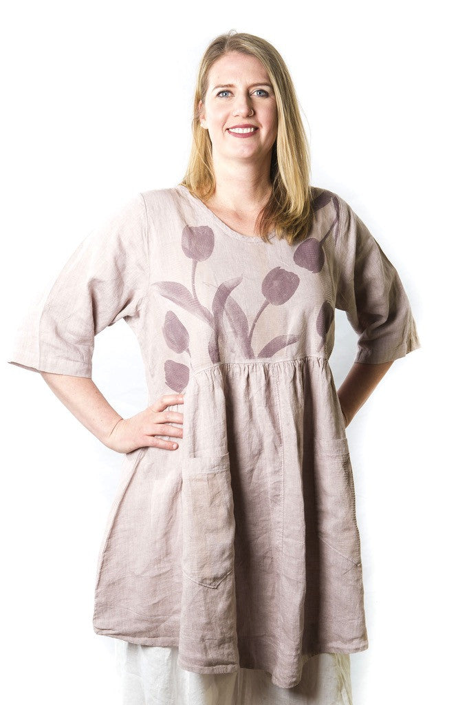Linen Skirted Tunic Pink Bisque Printed