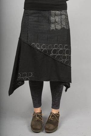 Long Cotton Lycra Skirt Black Printed