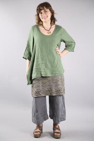 2183 Relaxed Linen Top-Seaweed -U