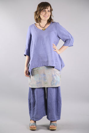 4169 Layer Skirt-Garden Stone with periwinkle pattern-P