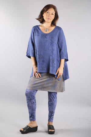 Relaxed Linen Top- Deep Blue Sea 2183-P