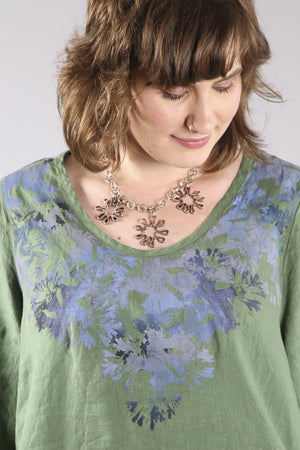 2183-Relaxed Linen Top-Seaweed-Printed