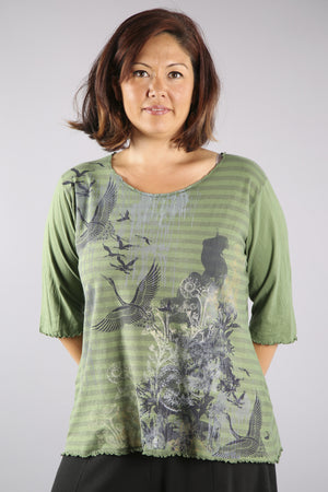 1238-Striped Light Weight Cotton Tee-Seaweed-Printed