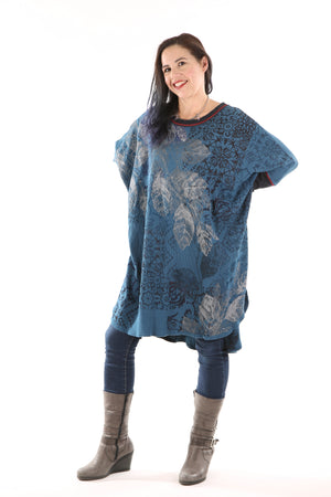 2251 Natural City Tunic- Blue Sea-Silver Leaves