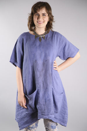 2261-Sea Clouds Linen Dress Dark Periwinkle-P