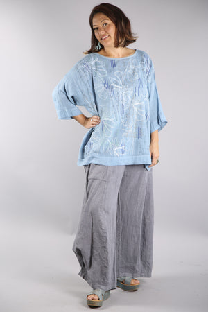 L594-Oversized Square Linen Top-Blue Topaz-P