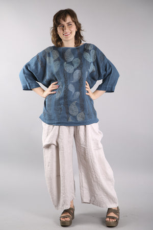 Oversized Square Linen Top Teal L594-P