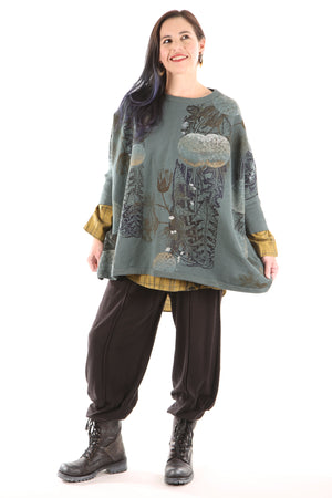 2210 Cozy Fleece Square Sweatshirt-Petrol- Dandelion Morris