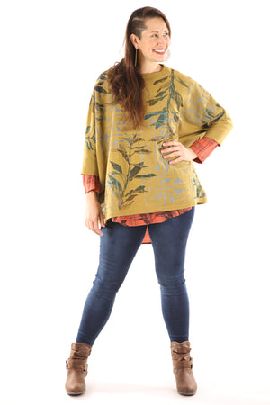 2210 Cozy Fleece Square Sweatshirt -Osage-Spice Leaf Windows