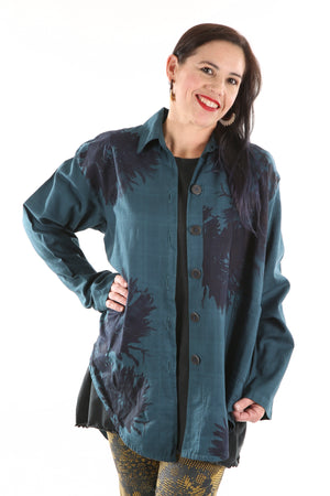 2286 Gallery Workshirt-Peacock- Botanicals