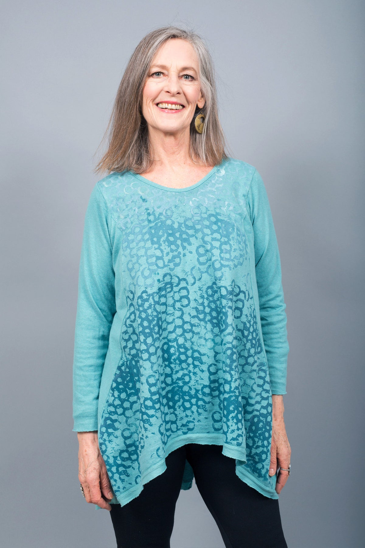 1244-Organic Hemp Cotton Grey Tiffany Blue Hi Lo Tunic Print Circles