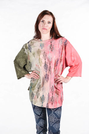 1251 HD Forest Pink Coral Textile Dream Hand Dyed Line Tee P