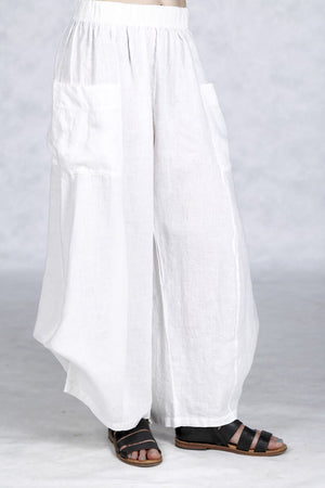 3243  Linen Billow Pant White-U