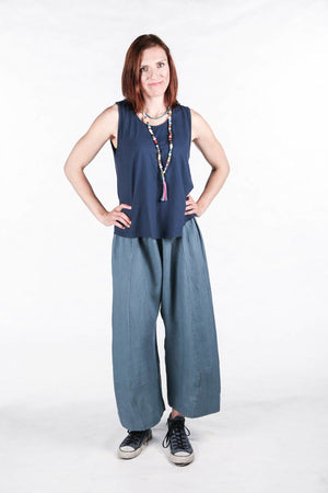 3294 Elegant Linen Pant Kingfisher-Unprinted