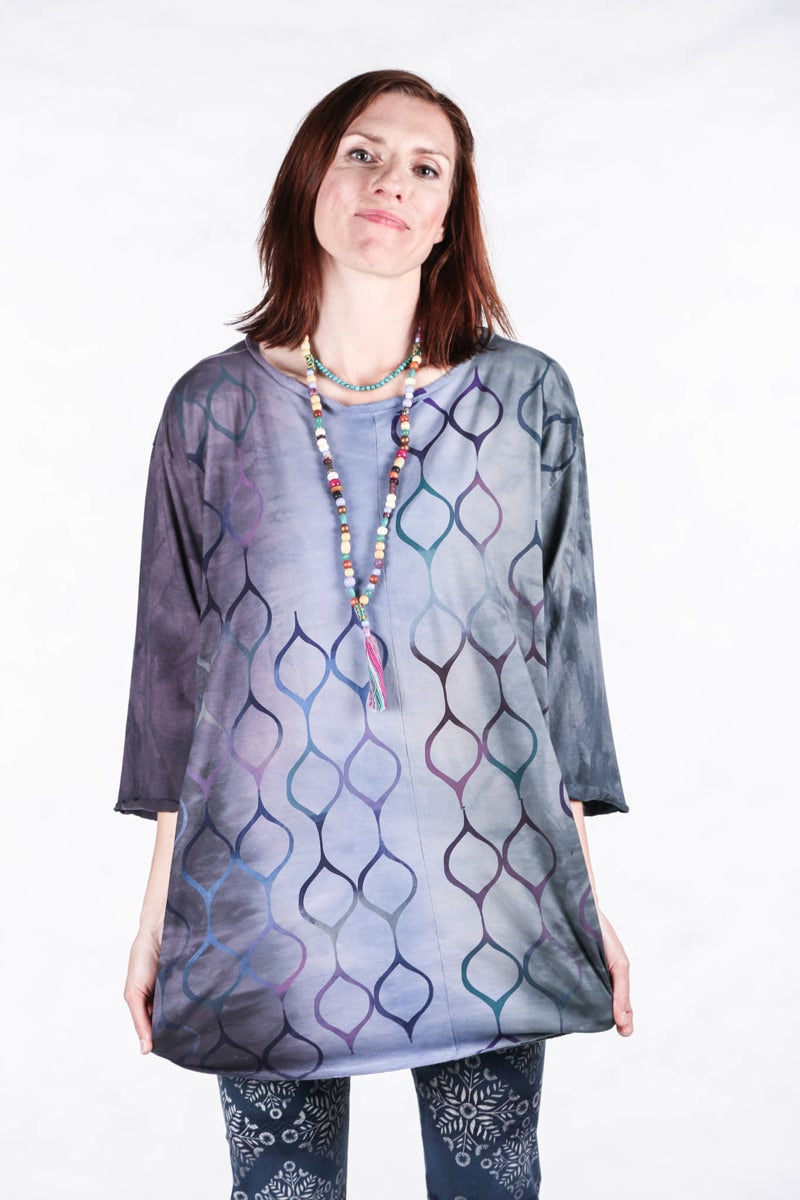 1251 HD Hand Dyed Mystic Violet Turquoise Hand Dyed Line Tee-P