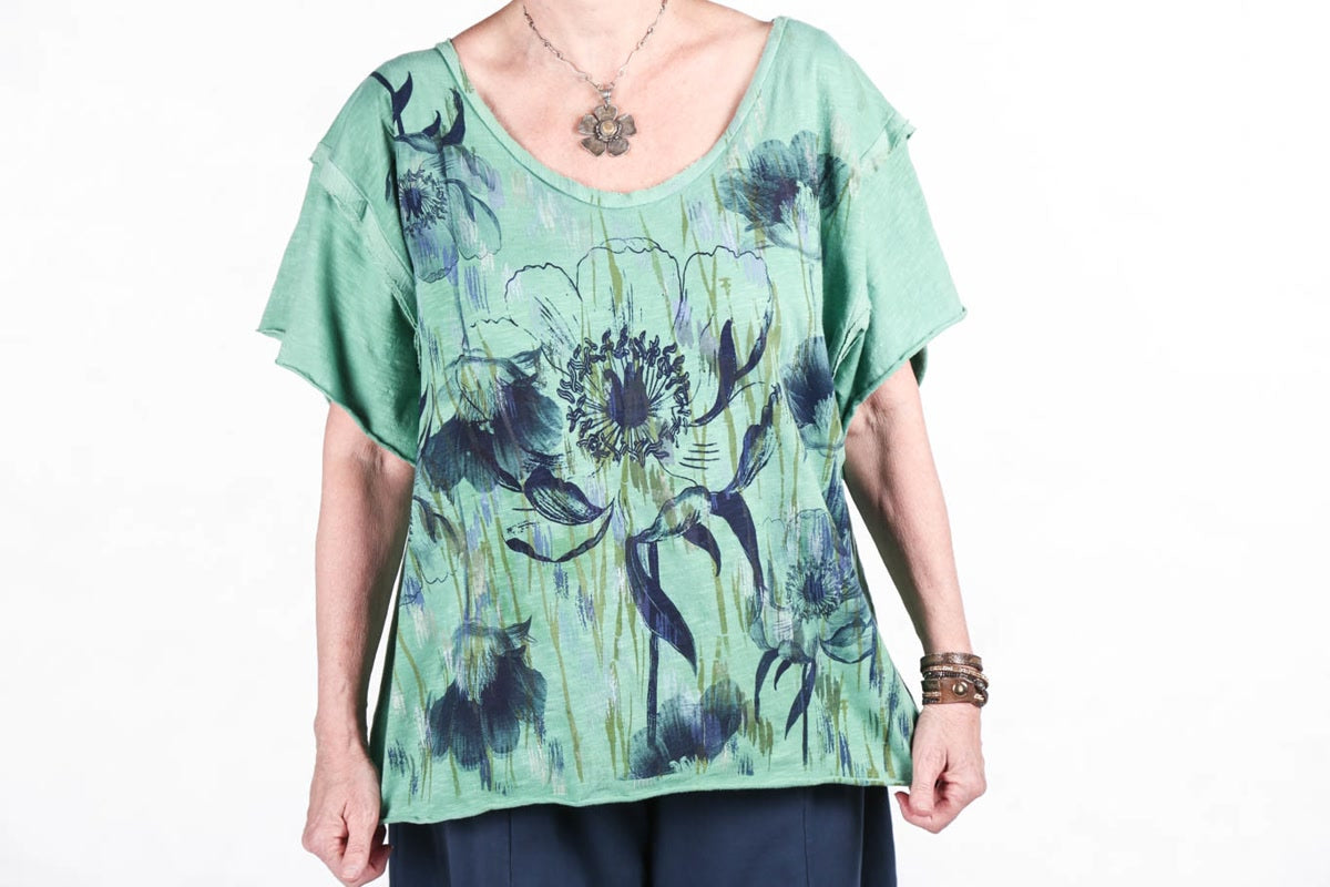 2295 Deconstructed Art Tee Hand Dyed Fresh Herb Print-P