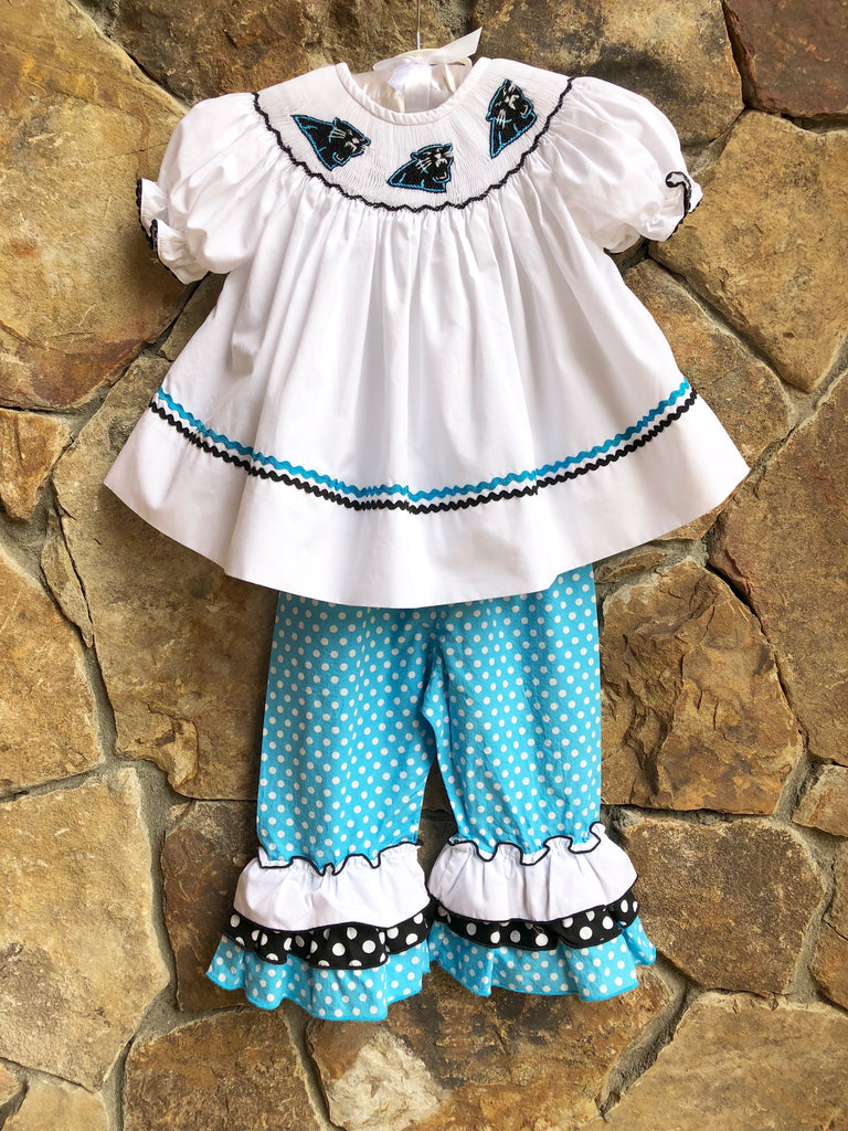 Carolina Panthers Smocked Ruffled Pants Set
