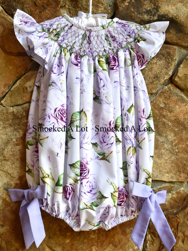 Purple Floral Smocked Bubble with side bows