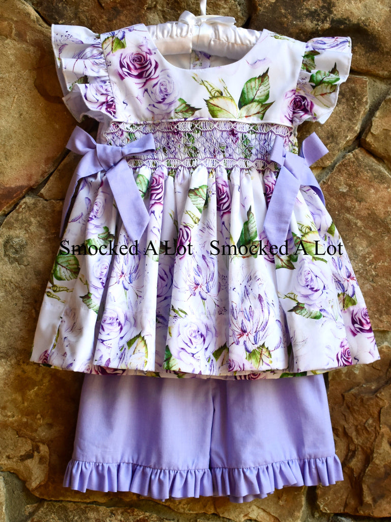 Purple Floral Smocked Shorts Set