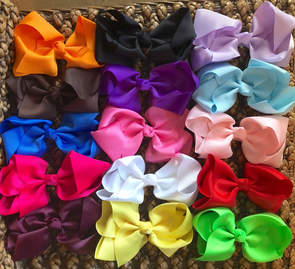 """A Bow in Every Color"" Lot of 15- BIG 6"" Hair Bows!  Variety pack of colors"