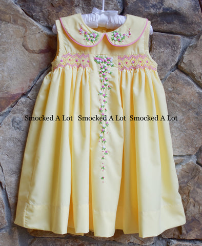 Memama's Garden Floral Smocked Dress with collar in yellow