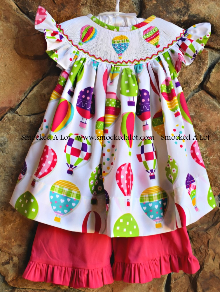 Hot Air Balloon Smocked Shorts Set