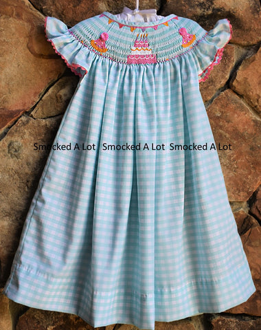Birthday Smocked Bishop Dress- Aqua Gingham with Cake, Birthday Presents, and Balloons