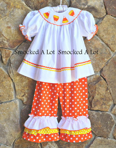 Smocked Candy Corn Halloween Ruffled Pants Set