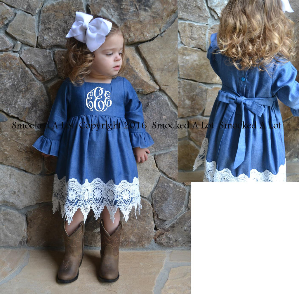 Limited Time Only SALE!  Denim and Lace Monogrammed Dress