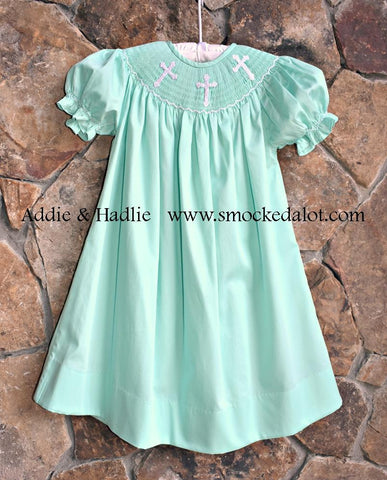 Smocked Mint Cross Easter Bishop Dress