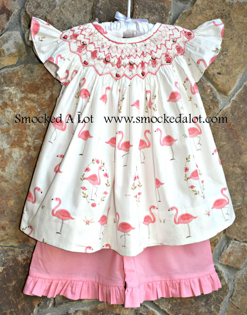 Flamingo Smocked Coral Shorts Set