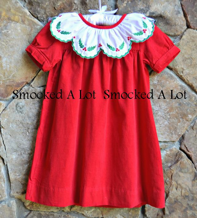 Red Cord Christmas Dress- Holly Berry Embroidered Scalloped Collar