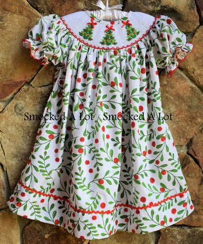 Holly Berry Smocked Christmas Tree Bishop Dress