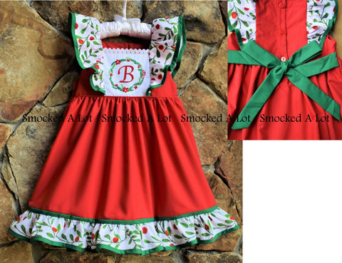 Holly Berry Monogrammed Christmas Wreath Dress with sash
