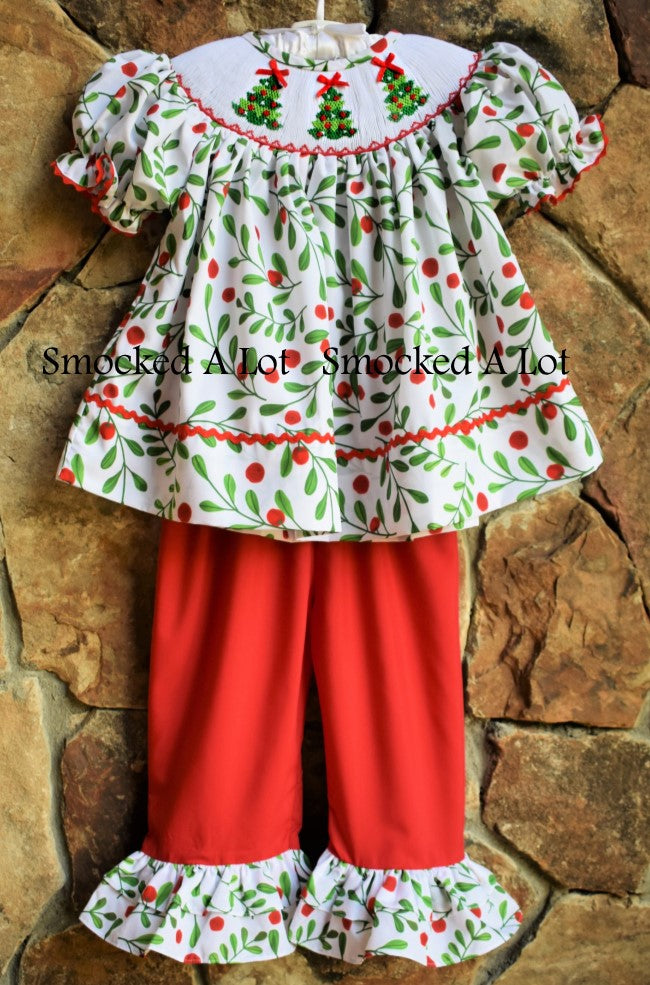 Holly Berry Smocked Christmas Tree Ruffled Pants Set