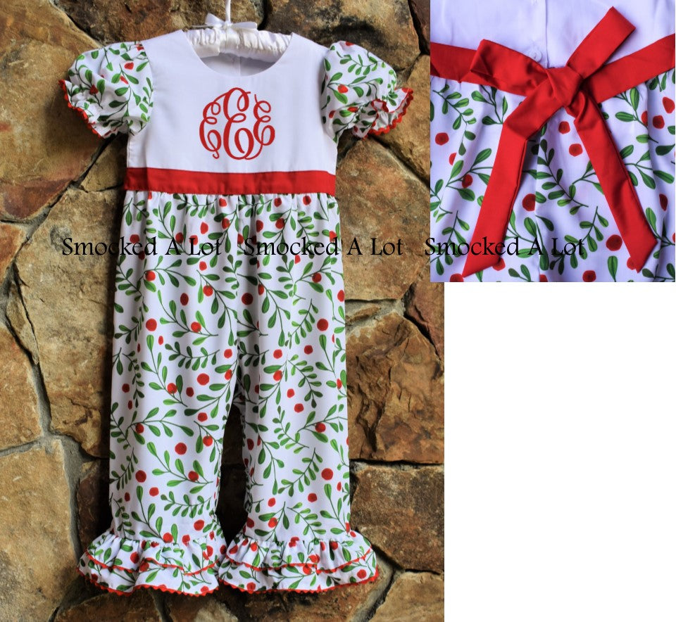 Holly Berry Monogrammed Christmas Ruffled Romper