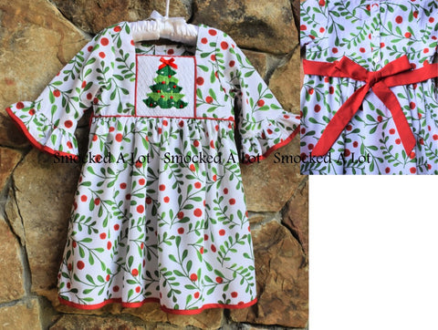 Holly Berry Smocked Christmas Tree Dress with sash