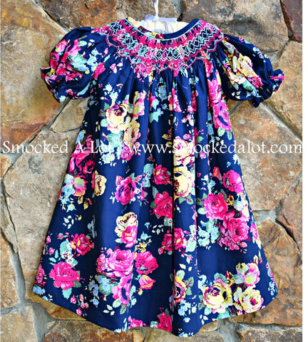 Navy Floral Bishop Smocked Dress
