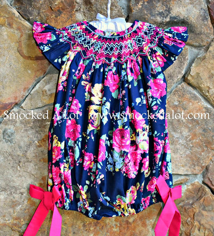 Navy Floral Smocked Bubble. Easter