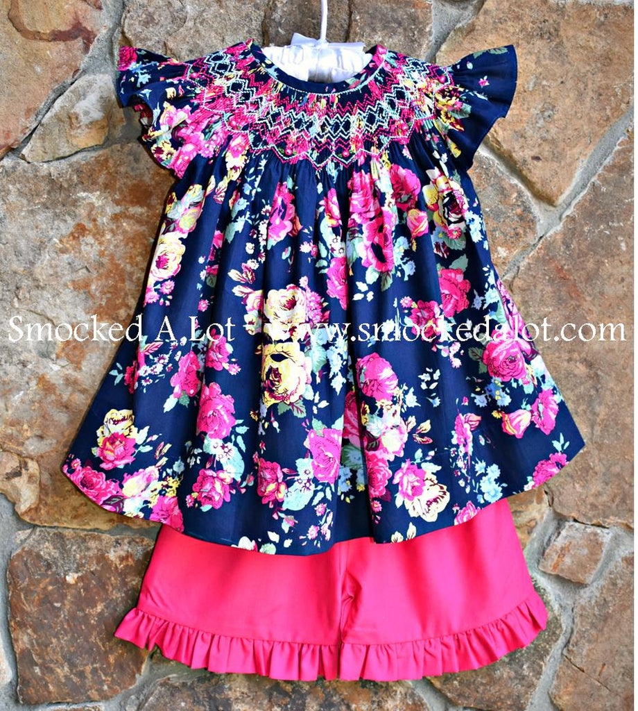 Navy Floral Smocked Shorts Set with flutter sleeves