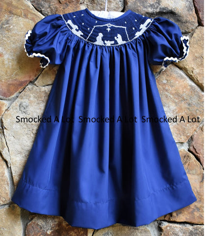 Smocked Navy Blue Nativity Manger Scene Christmas Bishop Dress