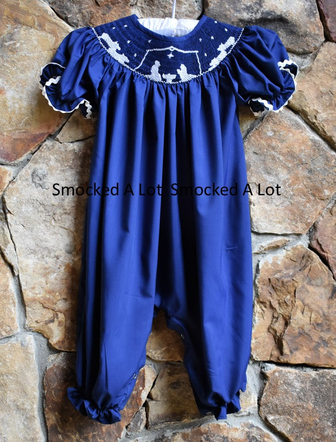 Smocked Navy Blue Nativity Manger Scene Christmas Bubble