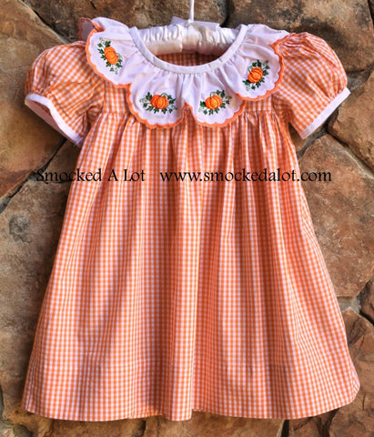 Pumpkin Thanksgiving Dress with Scalloped Collar-  Orange Gingham