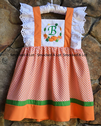 Monogrammed Pumpkin Harvest Thanksgiving Dress- Orange Gingham